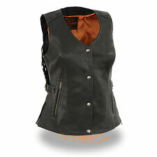 Motorcycle ladies biker blk Snap button western look leather vest with fringes
