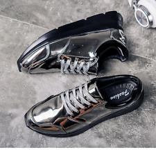 Korea Mens Comfort Lace up Low Top Sneakers Sports Shoes Vogue Shiny PU Leather