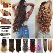 100% Natural Thick Clip in Hair Extensions 8Pieces Full Head Long As Human Style