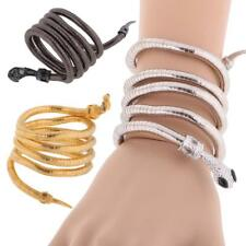 Women Vintage Punk Gothic Coiled Curved Jewelry Snake Cuff Bangle Bracelet