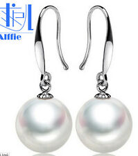New 925S  Silver 8-10mm White Shell Pearl Round Beads Dangle Earrings AAA