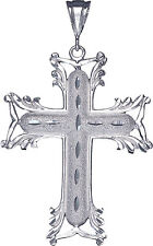 Large Sterling Silver Cross without Jesus Pendant Necklace 3.1 Inches 15 Grams