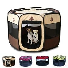 "28""/35"" Pet Dog Cat Puppy Playpen Tent Portable Exercise Fence Kennel Cage Crate"