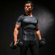 Mens Compression T-Shirts Under Base Layer Top Tight Sport Gym Cycling Sports