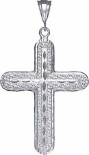 Large Heavy Sterling Silver Cross without Jesus Pendant Necklace 3.3 Inches
