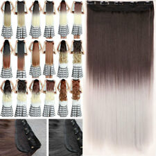 Half Full Head Clip in on Hair Extensions Long Straight Wavy One Piece Ombre New