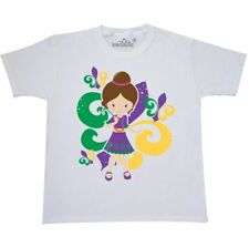 Inktastic Mardi Gras Girl Youth T-Shirt Fleur De Lis Mask Beads Jester Tee Kids