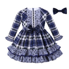 Baby Toddler Girls Check Dress with Hairclip Polka Dot Party Pageant Wedding NEW