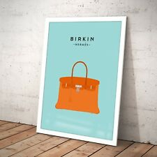Illustrated Birkin Hermes Handbag Fashion Poster Print Art Artwork A3 A4 Framed