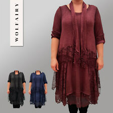 Italian Dress Tunic Lagenlook Frill Long Sleeve Lace Scarf Plus Size 16 - 24