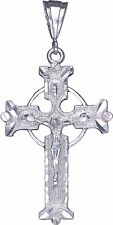 Sterling Silver Celtic Cross with Jesus Pendant Necklace Diamond Cut Finish
