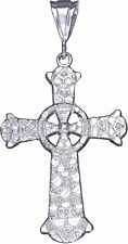Sterling Silver Celtic Cross Pendant Necklace with Diamond Cut Finish and Chain