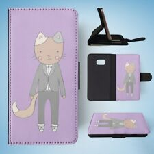CAT IN A SUIT FLIP WALLET CASE COVER FOR SAMSUNG GALAXY S7 EDGE