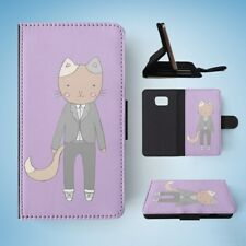 CAT IN A SUIT FLIP WALLET CASE COVER FOR SAMSUNG GALAXY S7