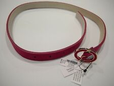 """NWT WHITE HOUSE BLACK MARKET Pink Leather Belt Sz XS, S 3/4"""" Wide Gold Buckle"""