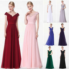 long evening bridesmaid dress chiffon party prom gown ball formal lace size 6