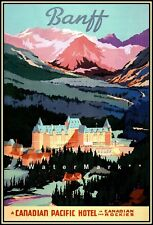 Canada 1939 Banff Canadian Pacific Hotel Vintage Poster Print Canadian Rockies