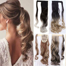 US Womens Wavy Curly Wrap Ponytail Clip in/on Hair Extension as Human Pony Tail