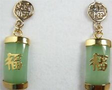 Vintage Natural Green Jade Lucky Fortune Dangly Earrings Women Jewelry For Gifts