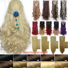 US 100% Real Thick Full Head Clip in Natural Hair Extensions 8 Pieces on Blonde
