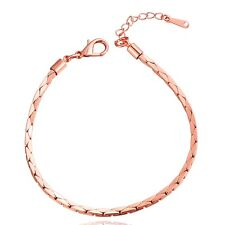 """7.5"""" 2.5M women 18K Rose Gold Plated Lobster Clasp snake chain bracelet jewelry"""