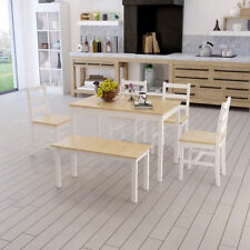 Panana Dining Wood Table and 2/4Chairs Bistro Set Kitchen Natrual&White UK Stock