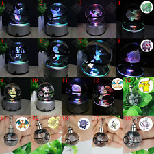 3D LED Night Light 7 colors Crystal Ball Pokemon Pokeball Pikachu Key Ring Gift