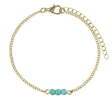 NEW Turquoise Bead Chain Bracelet Silver Gold Fashion Jewellery Cuff Overlay
