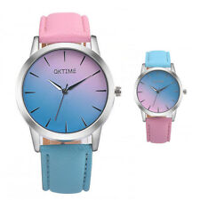 Women Quartz Watch Two Tone Pink and Blue Dial Round Case PU Leather Strap Watch