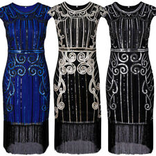 2017 New Ladies Floral Sequin Tassel Dress Sexy Short Sleeve Party Prom Dresses