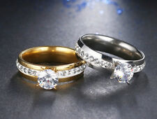 NEW STAINLESS STEEL ENGAGEMENT RING FOR WOMEN- GOLD OR SILVER- CRYSTAL SIZE