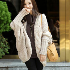 Women cardigan thick cape batwing sleeve knit loose casual wraps sweater tops