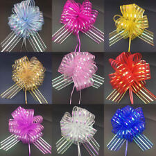 50MM Large Pom Pom Bow Organza Ribbon Pull Bows Wedding Party Gift Wrap UK