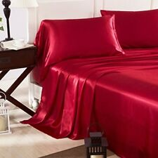 Silky Satin Bed Sheet Red Set Queen Soft Premium Linen Luxury Smooth 4Pcs