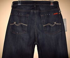 $189 Men's Seven 7 For All Mankind Relaxed Straight Leg Jeans Dark 28 NWT