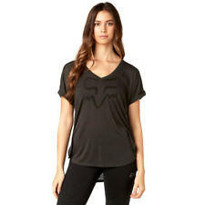Fox Racing NEW Mx Responded Black Vintage Womens V-Neck Short Sleeve Roll Tee