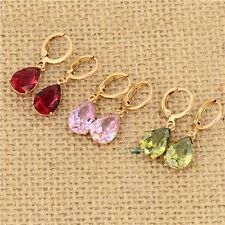 Charming 18K Yellow Gold Filled Rainbow Crystal Drop Dangle Earrings New