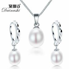 Freshwater pearl necklace 925 sterling silver jewelry set
