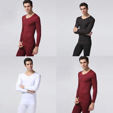 Solid Color Thermal Underwear Mens Cotton Blend Slim Long Sleeves UnderWear New