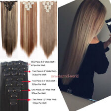 "BEST Selling Real Thick Clip In Hair Extension Full Head 8Pcs 18"" 24"" 26"" Blonde"