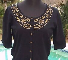 Cache Embellished Silk Blend Stretch Knit Top New Size S/M/L Sweater $98 NWT
