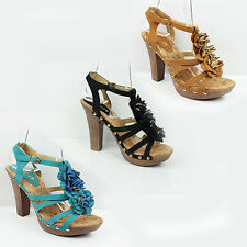 WOMENS LADIES PLATFORM STRAPPY FLORAL FRILL HIGH HEEL SANDALS SHOES SIZE 3-8