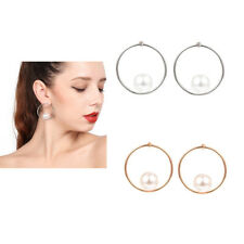 Fashion Faux Pearl Beads Round Charming Women's Hoop Dangle Earrings Jewelry