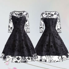 Women Gothic Lolita Black Long Sleeve Lace Dress Evening Party Formal Cocktail