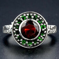 Vintage Women Man 925 Silver Ring 2Ct Ruby & Emerald Cocktail Ring Size 6-10