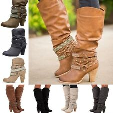 Women Rivet Buckle Mid Chunky Heel Boots Lady Mid-calf Slouch Boots Party Shoes