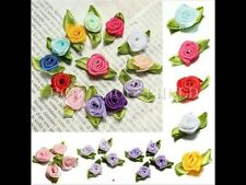 200 Pcs Satin Ribbon Rose DIY Wedding Flower Satin Decor Appliques Craft Sewing