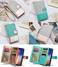 Wallet PU Leather Purse 9-Card Flip Case Removable Cover For iPhone X 8 7 Plus