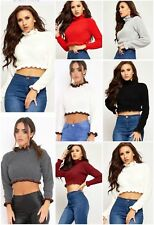 Womens Ladies Cropped Knitted Round High Neck Ruffle Frill Hem Jumper Top Stripe