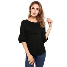 Women Casual Ruffle Sleeve Round Hemline O Neck Solid Loose Pullover IXH4